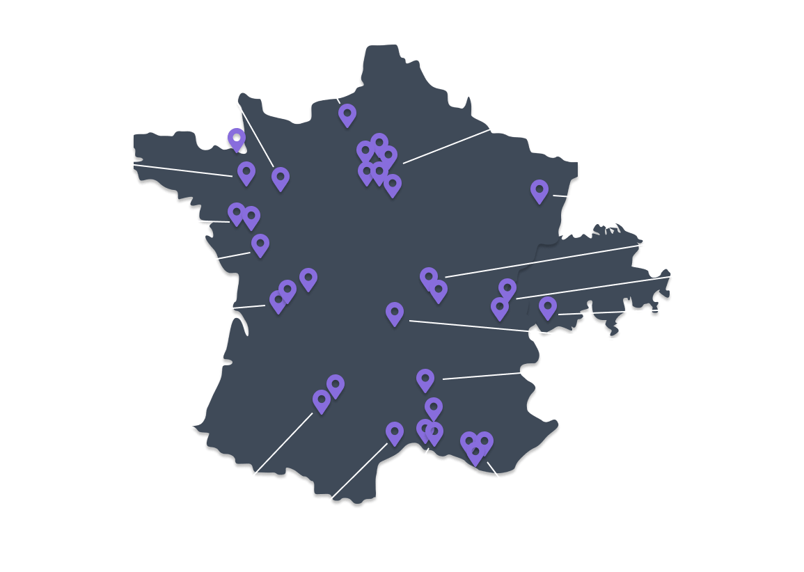 Carte de France et de Suisse des adhérents VR Connection